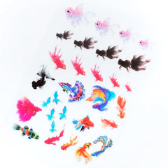 Colorful Goldfish Clear Film Sheet | Watercolor Fish Embellishments | UV Resin Inclusions | Resin Fish Koi Pond Making