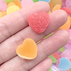 Heart Sugar Candy Cabochon | Fake Food Jewelry DIY | Faux Jelly Candies | Kawaii Gummy Candy Cabochons (10 pcs by Random / 17mm x 16mm)
