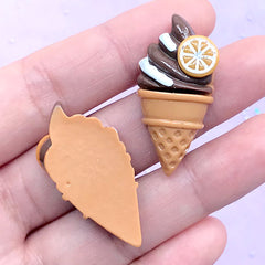 Chocolate Ice Cream Cabochons | Sweet Decoden Pieces | Resin Embellishments | Kawaii Craft Supplies (2 pcs / Brown / 17mm x 34mm)