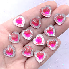Heart Gemstones | Magical Girl Jewellery Supplies | Kawaii Decoden Phone Case DIY (12 pcs / Pink / 14mm x 14mm)