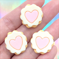 Scalloped Sugar Cookie Cabochons | Miniature Food Embellishments | Kawaii Sweet Deco | Decoden Pieces (3 pcs / 21mm)
