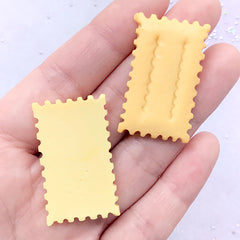 Cracker Biscuit Cabochons | Faux Food Jewelry Supplies | Kawaii Phone Case Decoration | Decoden Pieces (2 pcs / 21mm x 36mm)