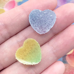 Heart Jelly Candy Cabochon in Rainbow Gradient | Faux Sugar Gummy Candies | Fake Candy Jewelry Making | Kawaii Decoden Supplies (10 pcs by Random / 17mm x 16mm)