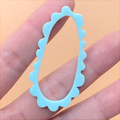 Irregular Oval Deco Frame for UV Resin Filling | Acrylic Retro Open Bezel Charm | Kawaii Jewelry Supplies (1 Piece / Blue / 26mm x 50mm)