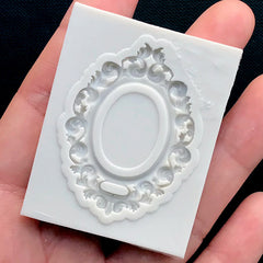 Victorian Oval Frame Silicone Mold | Ornate Frame Flexible Mold | Cameo Setting DIY | Epoxy Resin Mold (31mm x 43mm)