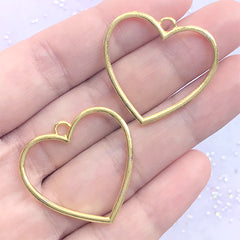 Heart Open Backed Bezel Charm | Deco Frame for for UV Resin Filling | Kawaii Jewelry Supplies (2 pcs / Gold / 29mm x 28mm)