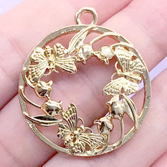 Butterfly Circle Open Backed Bezel | Insect Charm | Round Deco Frame for UV Resin Filling (1 piece / Gold / 29mm x 33mm)