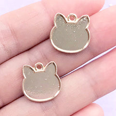 Kawaii Cat Bezel Tray for UV Resin Filling | Kitty Head Charm | Resin Jewellery DIY (2 pcs / Gold / 15mm x 15mm)