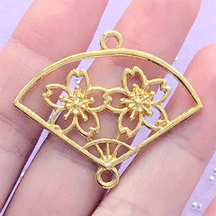 Sakura Hand Fan Open Bezel Charm | Cherry Blossom Handheld Paper Fan Deco Frame for UV Resin Filling (1 piece / Gold / 40mm x 33mm)