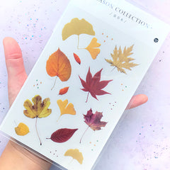 Fall Leaves Stickers | Realistic Autumn Leaf Sticker for Herbarium Craft | Floral Resin Inclusions | Home Decoration