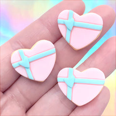 Faux Sugar Cookie Cabochons in Heart Shape | Fake Sweet Embellishments | Hair Bow Centre | Kawaii Decoden (3 pcs / 23mm x 19mm)