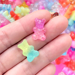 Bear Candy Cabochons in Rainbow Galaxy Gradient Color | Fake Food Embellishments | Kawaii Decoden | Sweets Deco (6 pcs by Random)