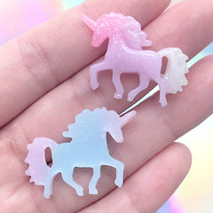 Magic Unicorn Cabochons in Kawaii Pastel Gradient | Fairytale Jewellery Making | Phone Case Decoden Supplies (3 pcs / 31mm x 21mm)