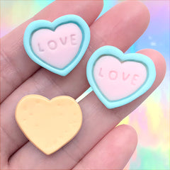Heart Sugar Cookie Cabochon | Miniature Sweet Deco | Valentine's Day Embellishments | Decoden Supplies (3 pcs / 22mm x 20mm)