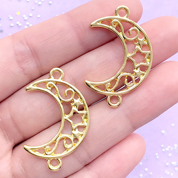 Filigree Moon and Star Open Bezel Connector Charm | Kawaii Jewelry Making | Magical Deco Frame | UV Resin Craft (2 pcs / Gold / 21mm x 33mm)