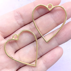 Heart Open Bezel Pendant for UV Resin Filling | Heart Outline Charm | Pressed Flower Jewelry Supplies (2 pcs / Gold / 30mm x 34mm)