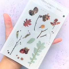 Pinecorn and Leaves Stickers | Realistic Pressed Leaf PVC Sticker | Nature Embellishment for Herbarium | Resin Craft Supplies