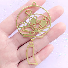 Cherry Blossom Windchime Open Bezel Charm | Sakura Wind Chime Deco Frame | UV Resin Jewelry Supplies (1 piece / Gold / 40mm x 73mm)