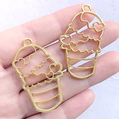 Triple Scoop Ice Cream Open Bezel Charm for UV Resin Filling | Sweet Deco Frame | Kawaii Resin Jewelry DIY (2 pcs / Gold / 26mm x 43mm)