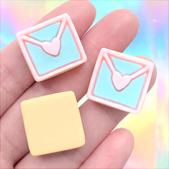 Love Letter Sugar Cookie Cabochon | Miniature Sweet Embellishments | Kawaii Jewelry Supplies | Decoden Phone Case Making (3 pcs / 20mm x 19mm)