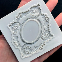 Oval Ornate Frame Silicone Mold | Victorian Frame Mold with Decorative Border | Cameo Setting DIY | Epoxy Resin Art Supplies (67mm x 82mm)