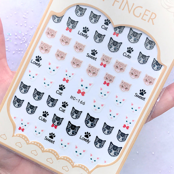 Mini Kitty Cat Sticker | Animal Pet Nail Decoration | Resin Inclusions | Nail Art Supplies