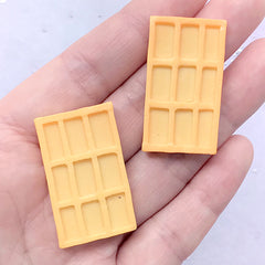 Rectangle Waffle Cabochon | Faux Food Embellishments | Kawaii Sweet Deco | Decoden Phone Case Making (2 pcs / 20mm x 35mm)