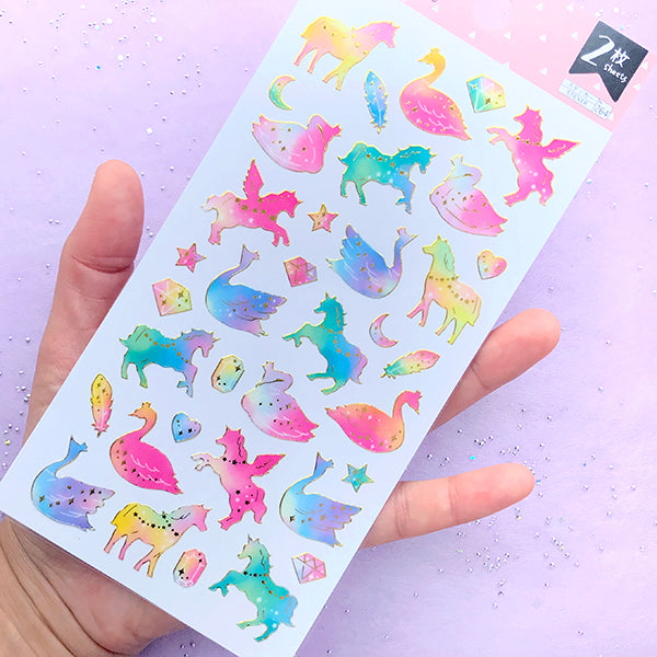 Magical Unicorn and Swan Stickers in Pastel Rainbow Gradient Color | Whimsical Embellishments | Kawaii Planner Decoration (2 sheets)