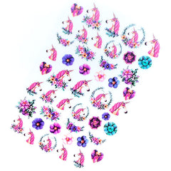 Flower Unicorn Clear Film Sheet | Cute Unicorn Wreath Embellishments | Kawaii Resin Inclusions | UV Resin Art Supplies