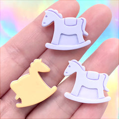 Rocking Horse Sugar Cookie Cabochon | Faux Sweet Decoden Embellishments | Pastel Kei Jewelry DIY (3 pcs / 24mm x 21mm)