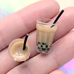 Dollhouse Boba Tea | Miniature Bubble Tea with Milk | Doll Drink Supplies | Kawaii Mini Food Jewellery DIY (2 pcs)