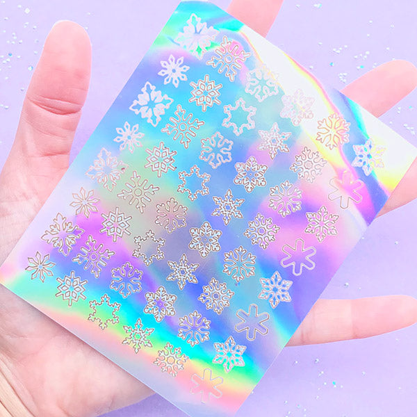 Holographic Snowflake Stickers | Iridescent Christmas Stickers | Winter Holiday Embellishments | Cute Sticker Supplies