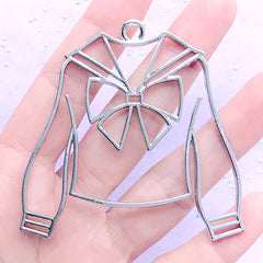 Winter Sailor Uniform Open Bezel Charm | Long Sleeve School Outfit Deco Frame | UV Resin Jewelry DIY (1 piece / Silver / 66mm x 62mm)