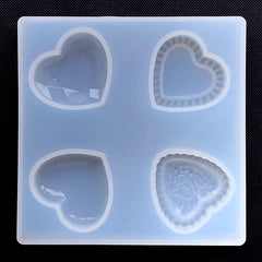 Assorted Heart Silicone Mold (4 Cavity) | Faceted Gemstone Mold | Puffy Heart Mold | Heart Cabochon Mold | UV Resin Mold
