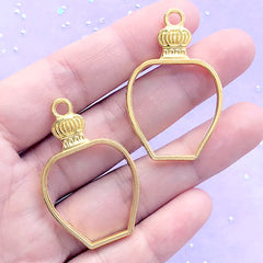 Perfume Bottle Open Bezel Charm | Eau de Parfum Pendant | Kawaii Deco Frame for UV Resin Filling (2 pcs / Gold / 26mm x 41mm)