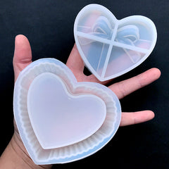 Heart Lolita Trinket Box Silicone Mold | Fluted Crystal Jewelry Box Mould | Make Your Own Storage Box | Kawaii Home Decor (87mm)