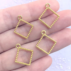 Mini Square Deco Frame with Beaded Border | Small Geometry Open Bezel for UV Resin Filling | Resin Art Supplies (4 pcs / Gold / 16mm x 19mm)