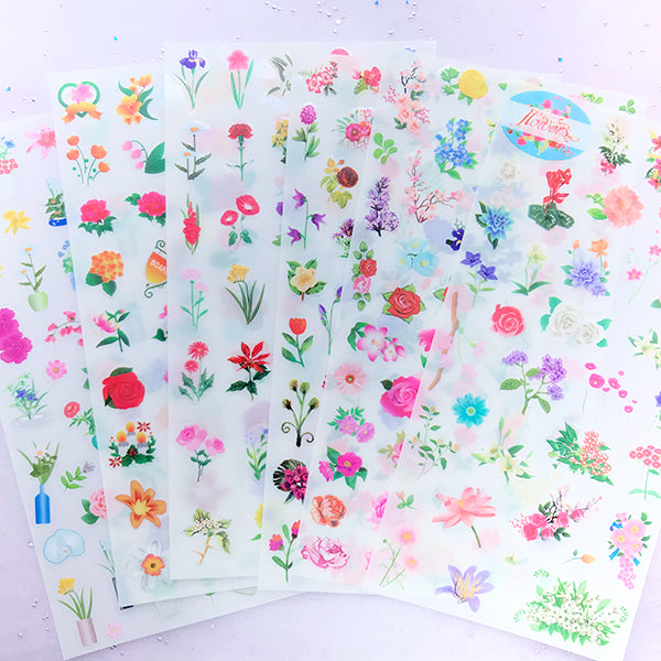 Vintage Floral Stickers | Colorful Flower Sticker | Clear PVC Sticker | Resin Inclusion | Scrapbooking Supplies (Set of 6 pcs)