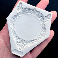 Ornate Victorian Frame Silicone Mold | Round Cameo Setting DIY | Epoxy Resin Flexible Mold | Resin Art Supplies (60mm x 70mm)