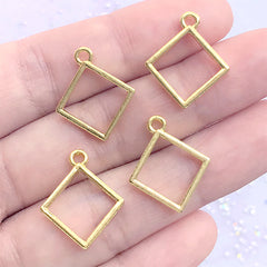 Small Square Deco Frame for UV Resin Filling | Tiny Geometry Open Bezel Charm | Kawaii Jewellery Making (4 pcs / Gold / 16mm x 19mm)