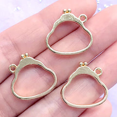 Coin Purse Open Bezel Charm | Coin Pouch Deco Frame for UV Resin Filling | Kawaii Jewelry Supplies (3 pcs / Gold / 20mm x 19mm)