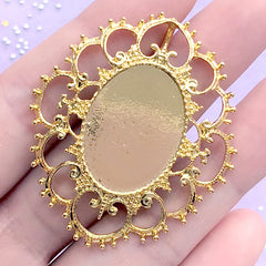CLEARANCE Oval Bezel Charm with Decorative Border | Filigree Bezel Tray | Cameo Setting | UV Resin Jewellery DIY | (1 piece / Gold / 41mm x 47mm)