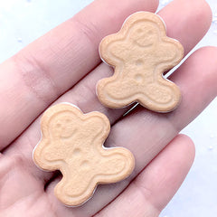 Gingerbread Man Biscuit Cabochon | Christmas Cookie Embellishments | Sweets Decoden | Kawaii Food Jewellery Making (2 pcs / 24mm x 27mm)