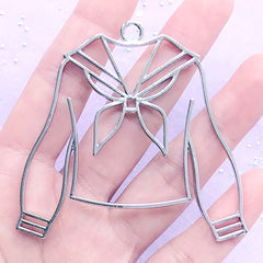Long Sleeve School Uniform Open Bezel Pendant | Winter Sailor Outfit Deco Frame for UV Resin (1 piece / Silver / 64mm x 62mm)