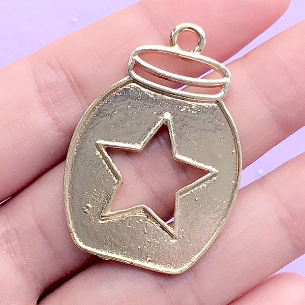 Bottle Jar with Star Open Bezel Charm for UV Resin Filling | Kawaii Deco Frame | Resin Jewelry Making (1 piece / Gold / 27mm x 39mm)