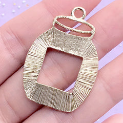 Jam Jar Open Bezel Pendant for UV Resin Crafts | Cute Deco Frame for Resin Filling | Kawaii Jewelry Supplies (1 piece / Gold / 27mm x 39mm)