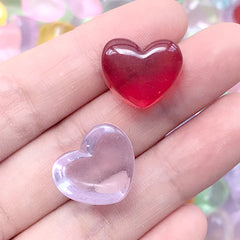 Heart Candy Cabochon in Actual Size | Fake Candies | Faux Food | Kawaii Decoden | Sweet Deco Supplies (10 pcs by Random / 18mm x 14mm)