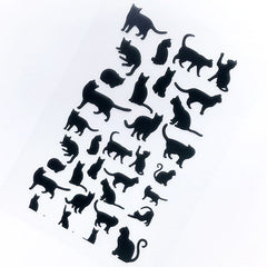 DEFECT Kitty Silhouette Clear Film Sheet in Black Color | Animal Cat Embellishments for Epoxy Resin Art Decoration | Resin Fillers