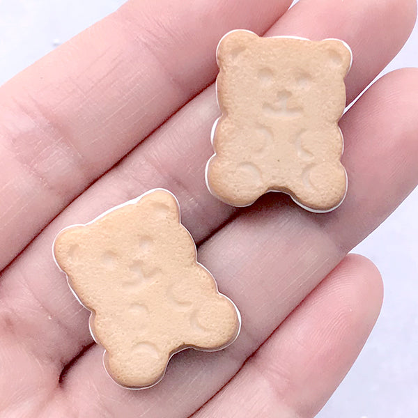 Bear Cookie Cabochon | Faux Biscuit Embellishments | Kawaii Decoden Cabochon | Fake Food Jewelry Making (2 pcs / 18mm x 22mm)