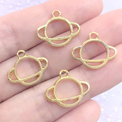 Mini Planet Saturn Open Bezel Charm | Astrology Deco Frame for UV Resin Filling | Kawaii Resin Jewellery DIY (4 pcs / Gold / 17mm x 14mm)